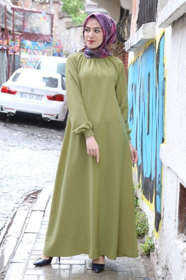 Büzgülü Ferace Elbise 1004-144