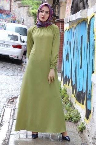 - Büzgülü Ferace Elbise 1004-144
