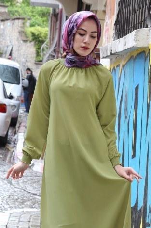 Büzgülü Ferace Elbise 1004-144 - Thumbnail