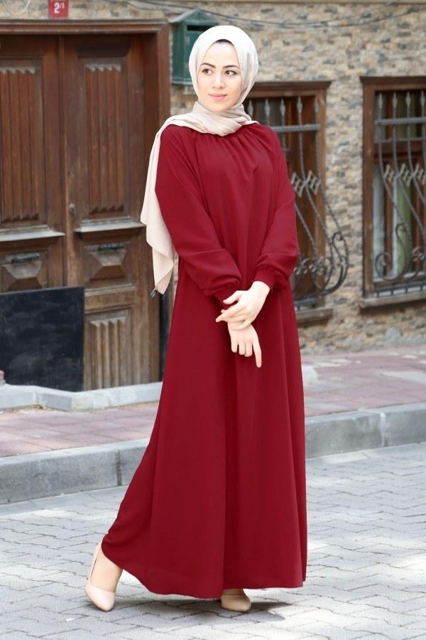 Büzgülü Ferace Elbise 1004-145