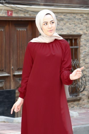 Büzgülü Ferace Elbise 1004-145 - Thumbnail