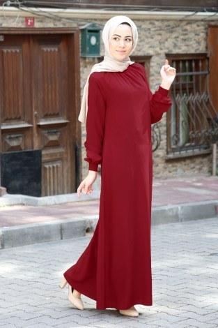 - Büzgülü Ferace Elbise 1004-145