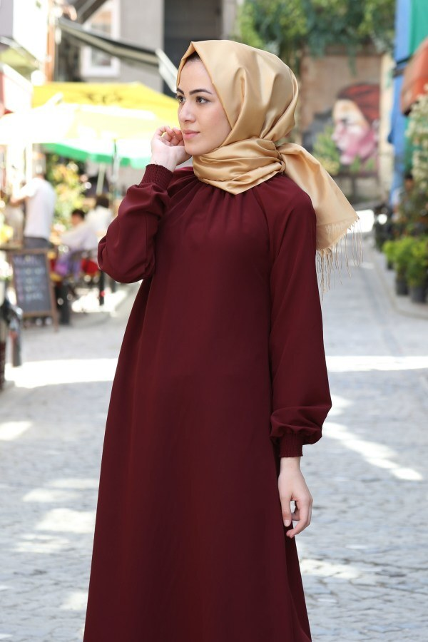 Büzgülü Ferace Elbise 1004-146