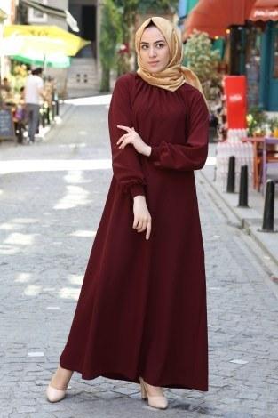 Büzgülü Ferace Elbise 1004-146 - Thumbnail