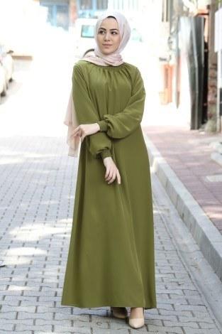 - Büzgülü Ferace Elbise 1004-147