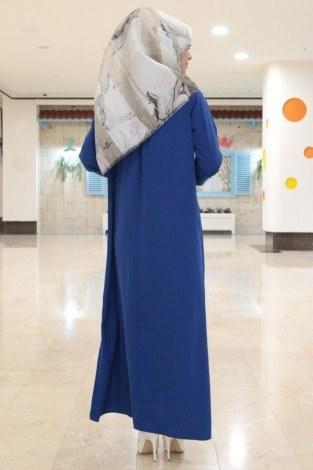 Büzgülü Ferace Elbise 1004-15 - Thumbnail