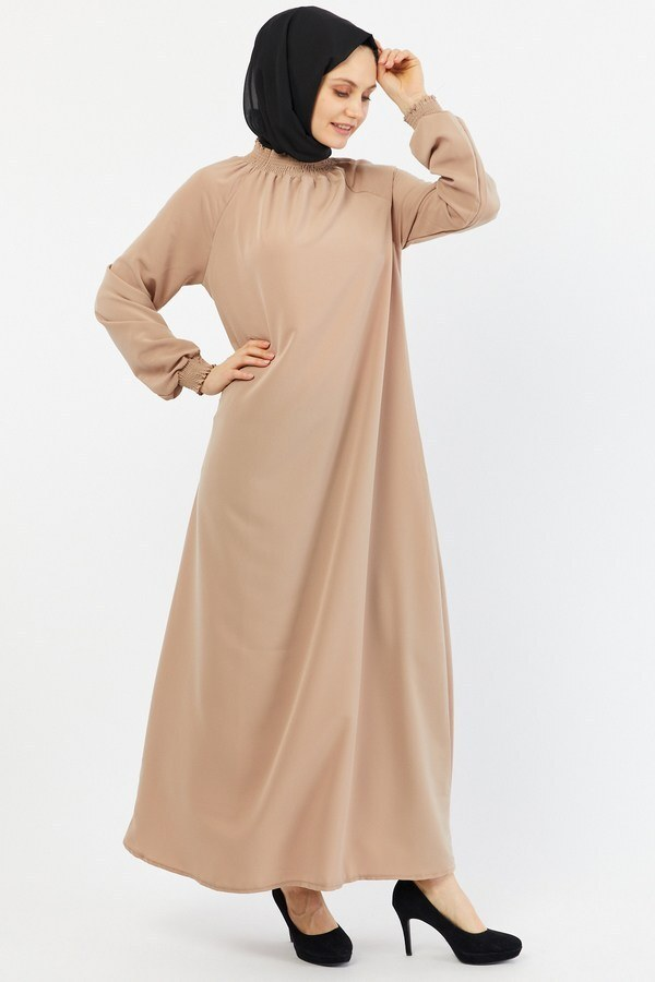 Büzgülü Ferace Elbise 1004-161 bej
