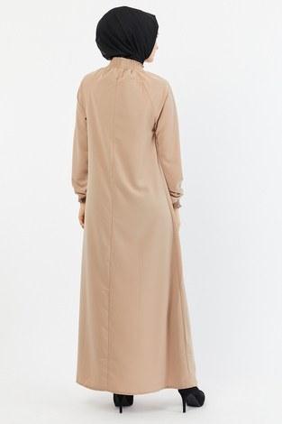 Büzgülü Ferace Elbise 1004-161 bej - Thumbnail