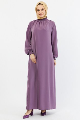 - Büzgülü Ferace Elbise 1004-162 lila