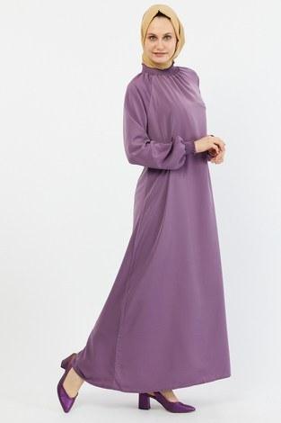 - Büzgülü Ferace Elbise 1004-162 lila (1)