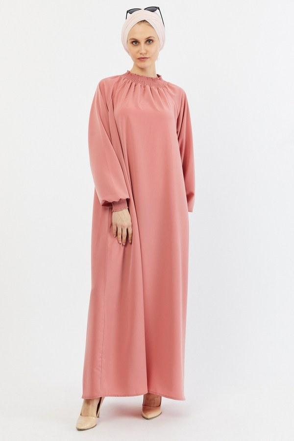 Büzgülü Ferace Elbise 1004-160 pembe