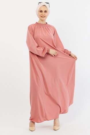 Büzgülü Ferace Elbise 1004-160 pembe - Thumbnail