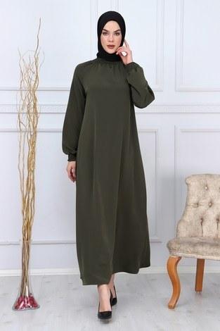 Büzgülü Ferace Elbise 1004-20 - Thumbnail