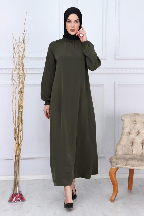Büzgülü Ferace Elbise 1004-20