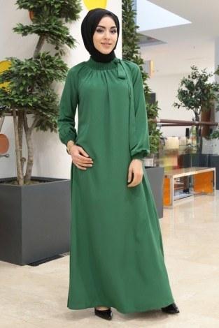 - Büzgülü Ferace Elbise 1004-100