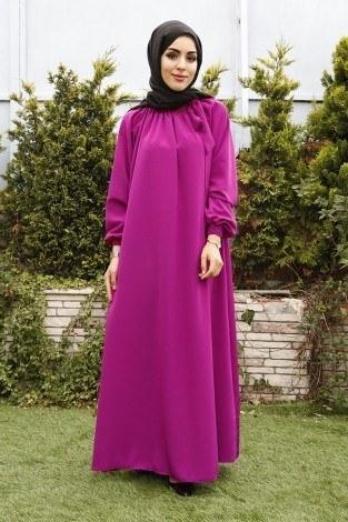 - Büzgülü Ferace Elbise 1004-16