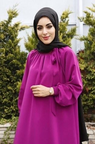 - Büzgülü Ferace Elbise 1004-16 (1)