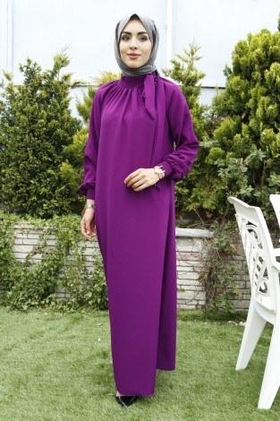 - Büzgülü Ferace Elbise 1004-96 Mor