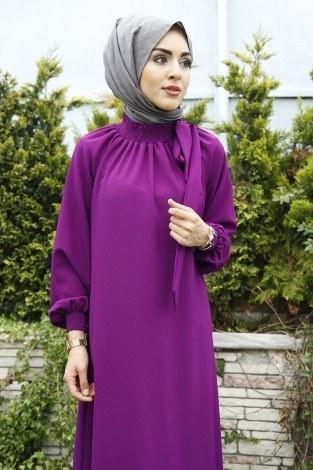 - Büzgülü Ferace Elbise 1004-96 Mor (1)