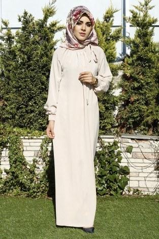 - Büzgülü Ferace Elbise 1004-13