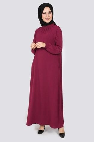 - Büzgülü Ferace Elbise 1004-400
