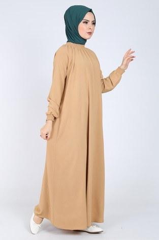 - Büzgülü Ferace Elbise 1004-4010