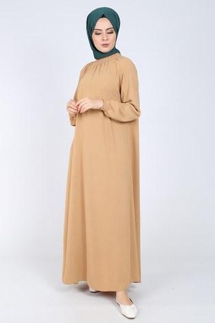 Büzgülü Ferace Elbise 1004-4010 - Thumbnail
