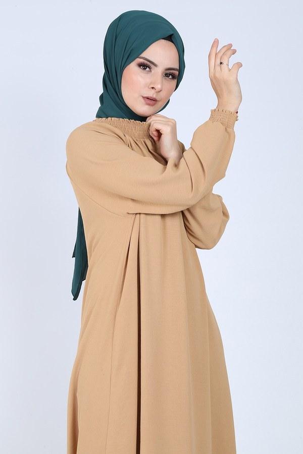 Büzgülü Ferace Elbise 1004-4010