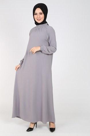 Büzgülü Ferace Elbise 1004-402 - Thumbnail