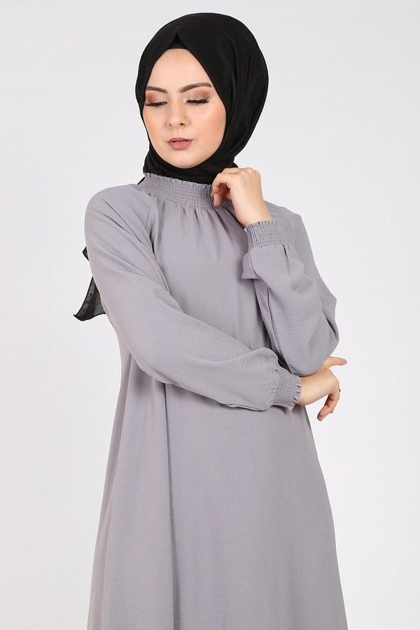 Büzgülü Ferace Elbise 1004-402