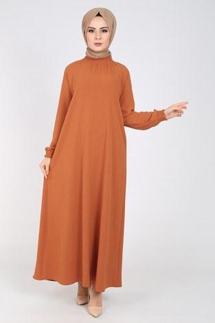 - Büzgülü Ferace Elbise 1004-403