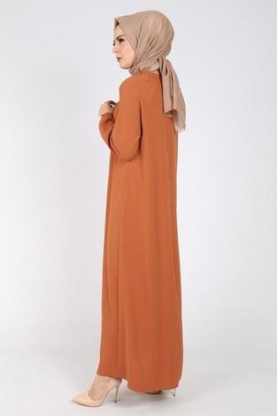 Büzgülü Ferace Elbise 1004-403 - Thumbnail