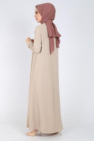 Büzgülü Ferace Elbise 1004-405 - Thumbnail