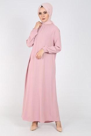 - Büzgülü Ferace Elbise 1004-406