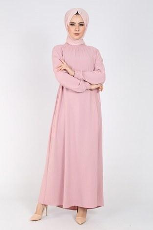 Büzgülü Ferace Elbise 1004-406 - Thumbnail