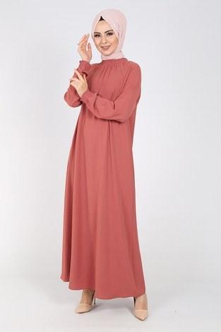 - Büzgülü Ferace Elbise 1004-407