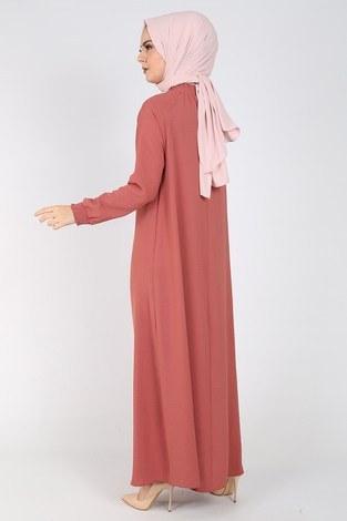 Büzgülü Ferace Elbise 1004-407 - Thumbnail