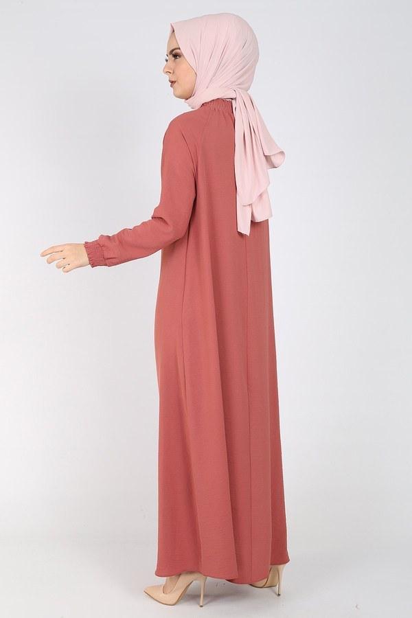 Büzgülü Ferace Elbise 1004-407