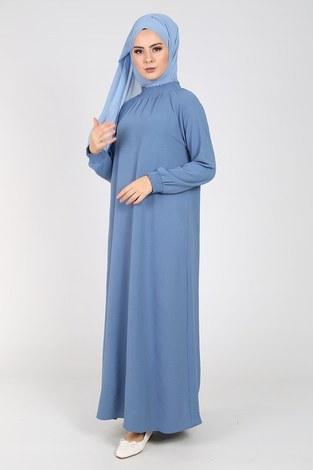 - Büzgülü Ferace Elbise 1004-408
