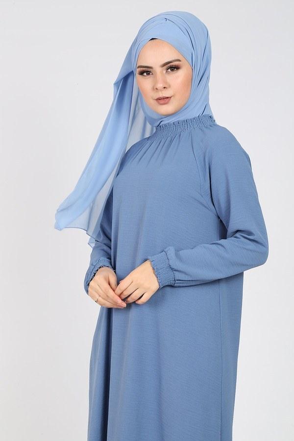 Büzgülü Ferace Elbise 1004-408