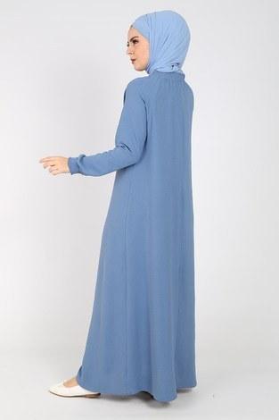 Büzgülü Ferace Elbise 1004-408 - Thumbnail