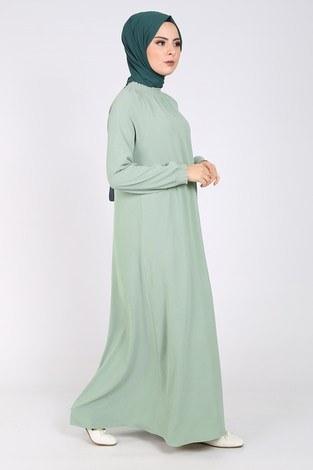 Büzgülü Ferace Elbise 1004-409 - Thumbnail
