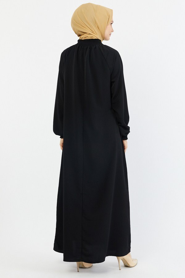 Büzgülü Ferace Elbise 1004-1 siyah