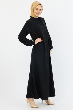 Büzgülü Ferace Elbise 1004-1 siyah - Thumbnail