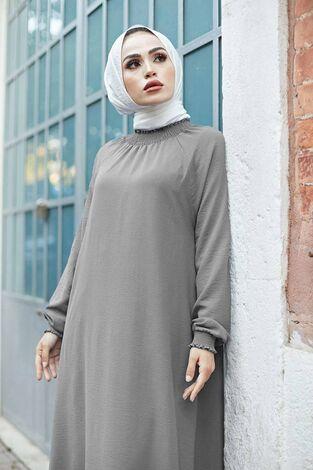 Büzgülü Ferace Elbise 100MD-1004 Gri - Thumbnail