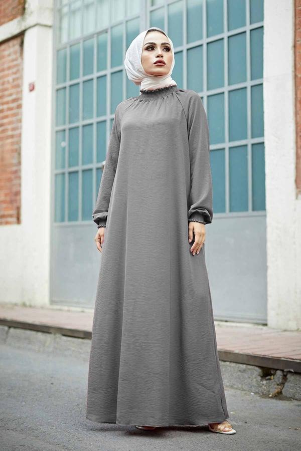 Büzgülü Ferace Elbise 100MD-1004 Gri