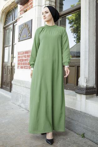 Büzgülü Ferace Elbise 100MD-1004 Yeşil - Thumbnail