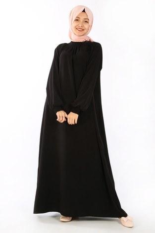 - Büzgülü Genç Ferace Elbise 2528-6 siyah