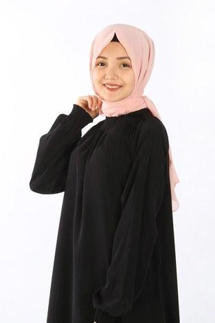 - Büzgülü Genç Ferace Elbise 2528-6 siyah (1)