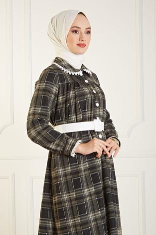 Çalıkuşu Elbise 100MD10107 Haki - Thumbnail